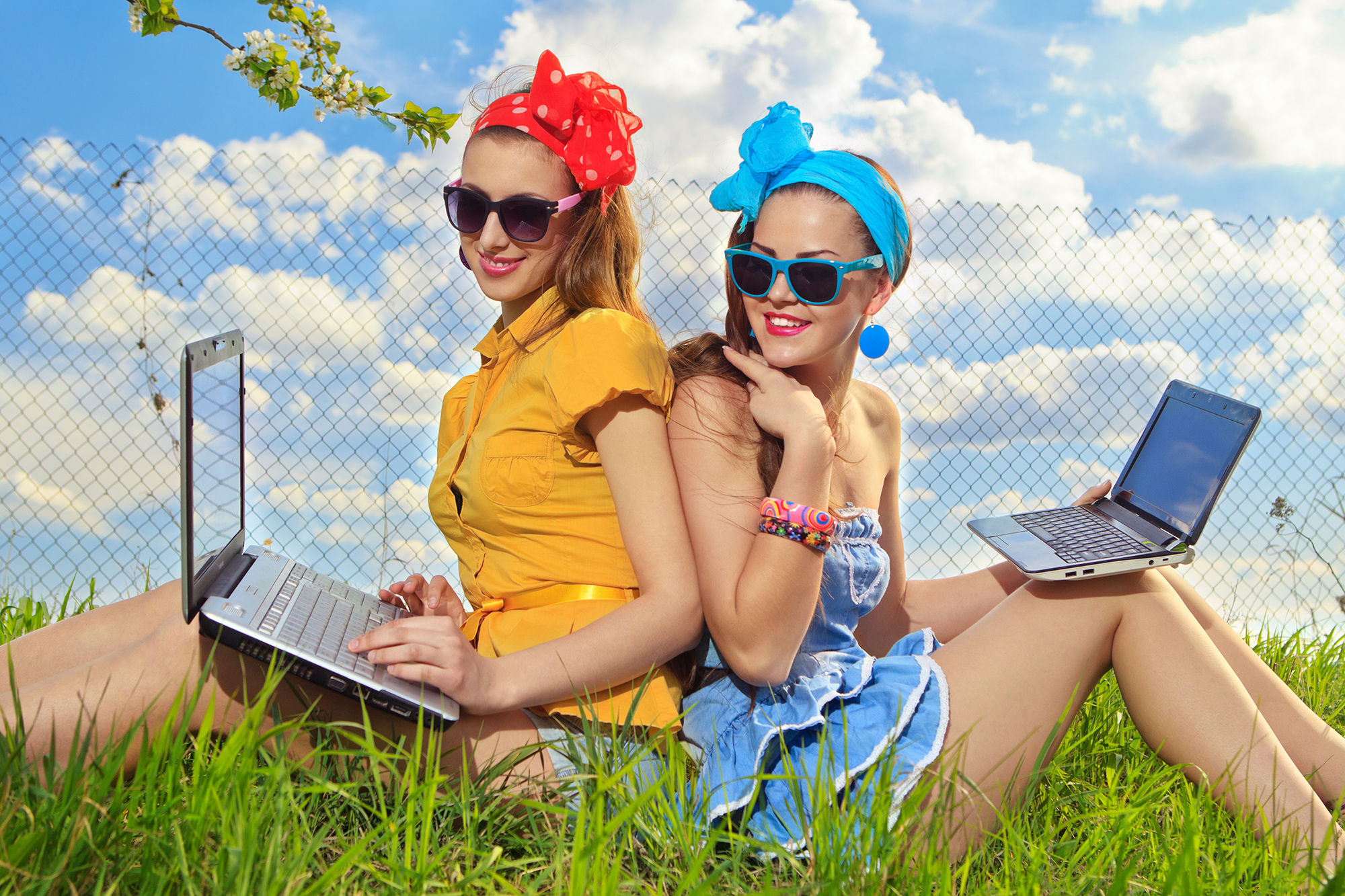 two women coding - a background image